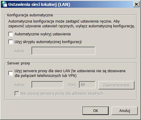 ustawienia sieci lokalnej (LAN)