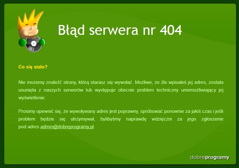 Błąd serwera nr 404
