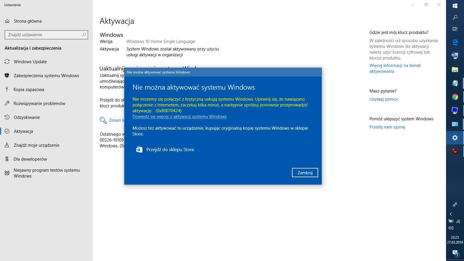 Błąd 0x80070424 przy próbie zmiany klucza Windows - Windows (ogólnie
