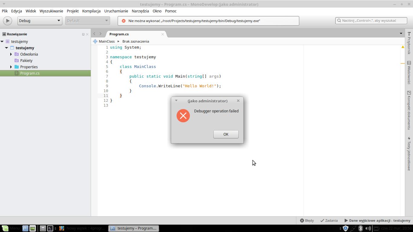 Linux] MonoDevelop - Debugger Operation Failed