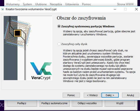 Problem z Veracrypt - brak opcji szyfrowania całego dysku - Problemy ...