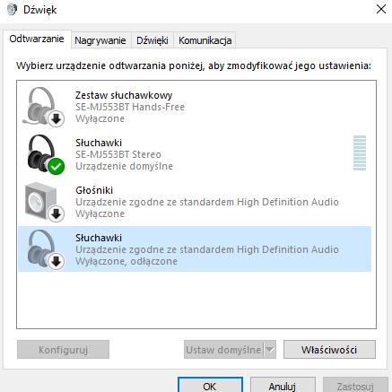 Problem z działaniem jednocześnie w słuchawkach bluetooth
