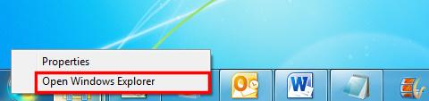 In the shortcut menu, click Open Windows Explorer